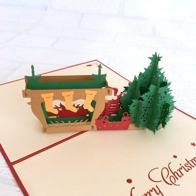 Handmade Santa Claus with Fireplace on Christmas Eve Pop Up Card - Pop Up Christmas Cards