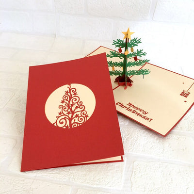 Handmade Christmas Tree with Decorative Ornaments Pop Up Greeting Card - Pop Up Xmas Cards small size