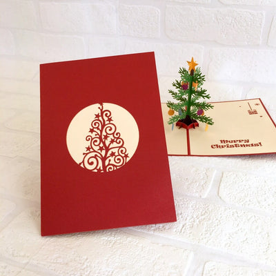 Handmade Christmas Tree with Decorative Ornaments Pop Up Greeting Card - Pop Up Xmas Cards large size