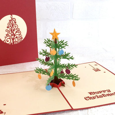 Handmade Christmas Tree with Decorative Ornaments Pop Up Greeting Card - Pop Up Xmas Cards