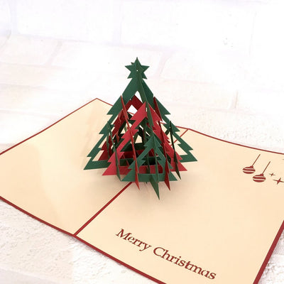 Handmade Red & Green Christmas Tree Pop Up Greeting Card - 3D Pop Up Xmas Cards