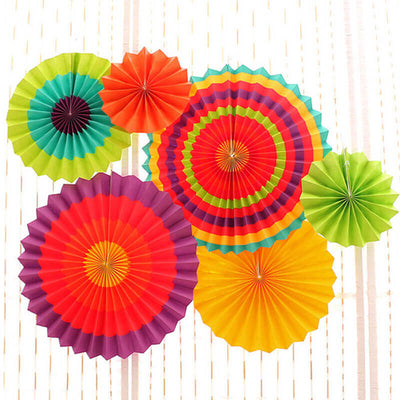 Mexican Fiesta Hanging Paper Fan Decorations (Set of 6)
