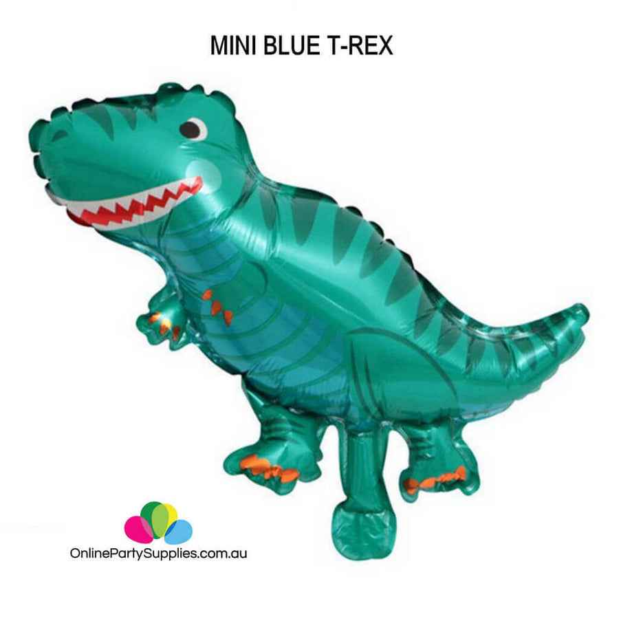 Online Party Supplies Mini Blue T-Rex Jurassic World Dinosaur Shaped Helium Foil Balloon