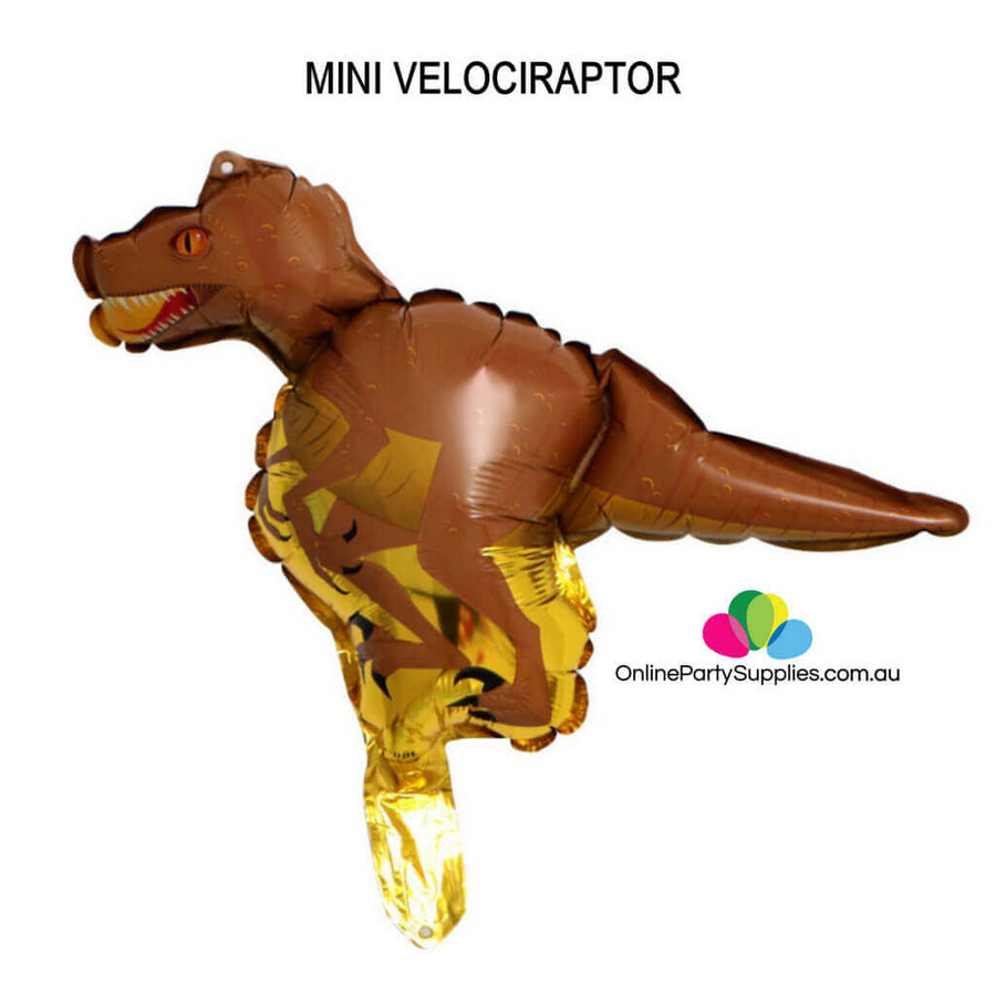 Online Party Supplies Mini brown velociraptor Jurassic World Dinosaur Shaped Foil Balloon