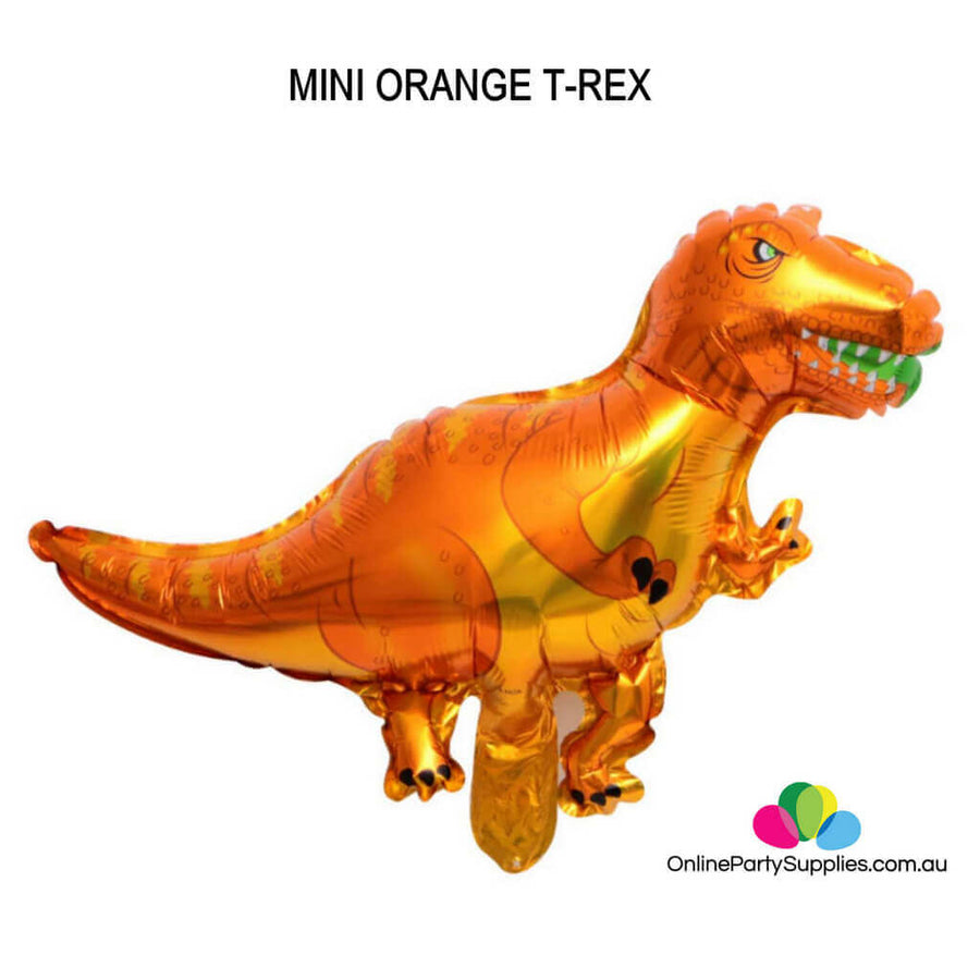Online Party Supplies Mini orange T-Rex Jurassic World Dinosaur Shaped Helium Foil Balloon
