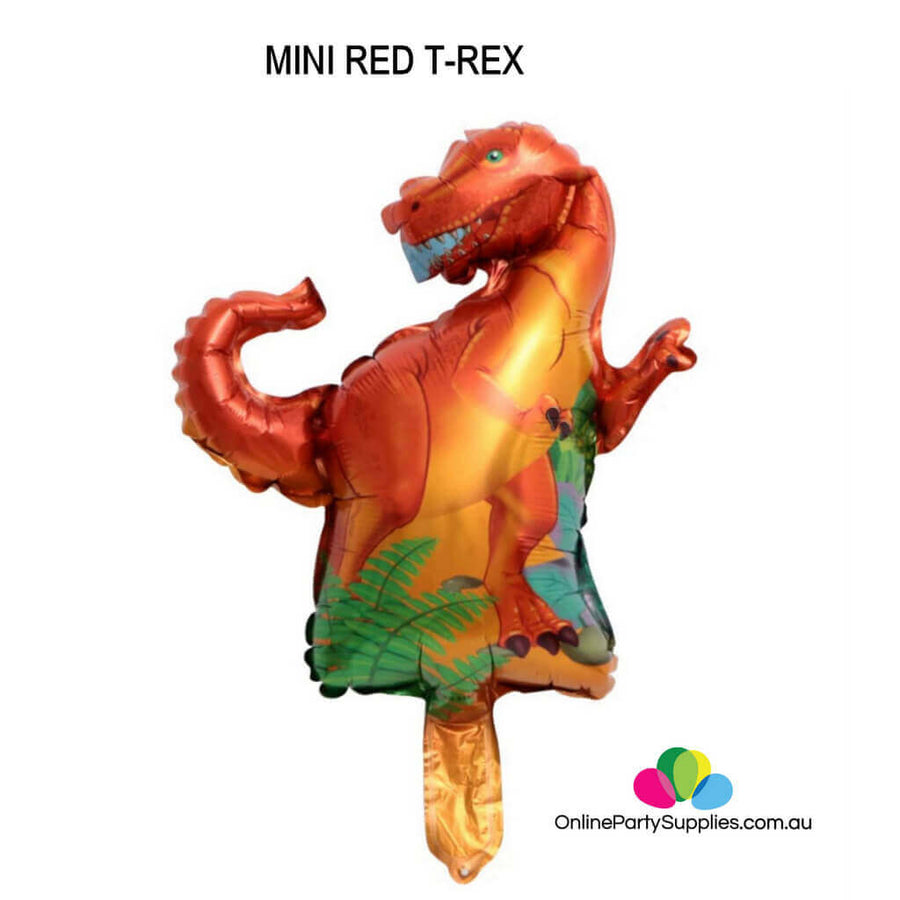 Online Party Supplies Mini red t-rex Jurassic World Dinosaur Shaped Helium Foil Balloon