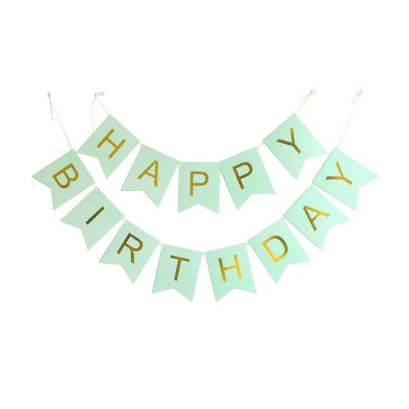 Mint Green Happy Birthday Hanging Paper Banner