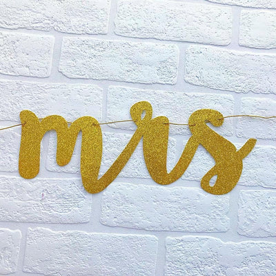 MISS TO MRS Gold Glitter Bachelorette Party Banner - Online Party Supplies