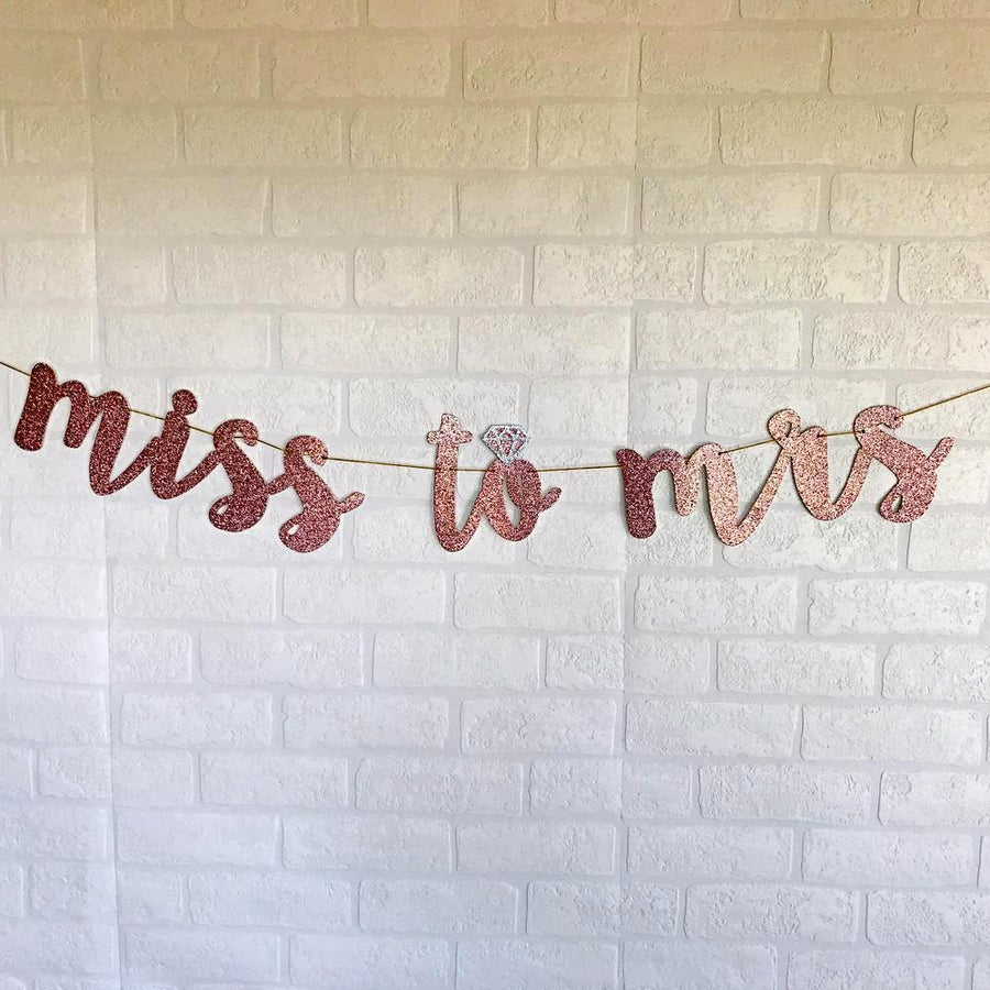 MISS TO MRS Rose Gold Glitter Bachelorette Party Banner - Online Party Supplies