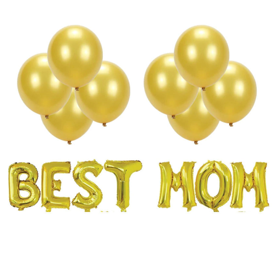 Mother's Day Gold BEST MOM Foil Balloon Bouquet (Pack of 15 pcs) - Online Party Supplies