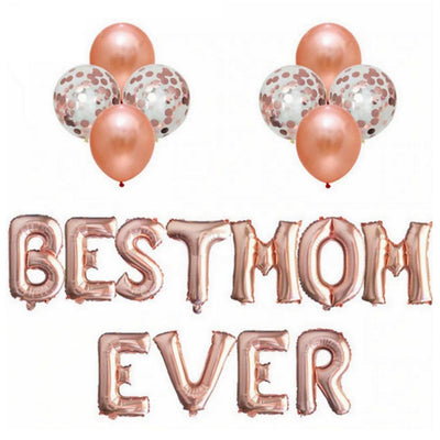 Mother's Day Rose Gold BEST MOM EVER Foil Balloon Bouquet (Pack of 19pcs) - Online Party Supplies
