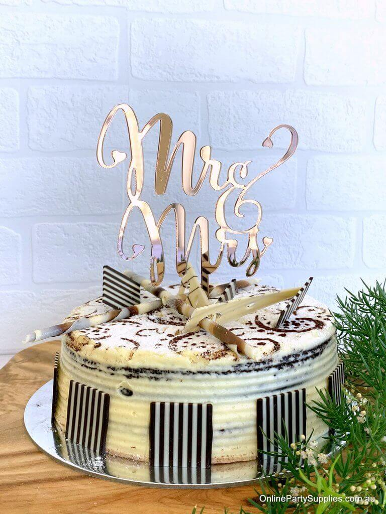 Acrylic Rose Gold Mirror 'Mr and Mrs' Wedding Engagement Bridal Shower Cake Topper Online Party Supplies Australia