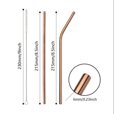 Multicoloured Stainless Steel Straw 210mm (Bent, Straight) - Online Party Supplies