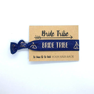 Rose Gold Print Navy Blue Bride Tribe Hair Tie Bridal Wristband for Hen Bachelorette Party Bridesmaids gifts