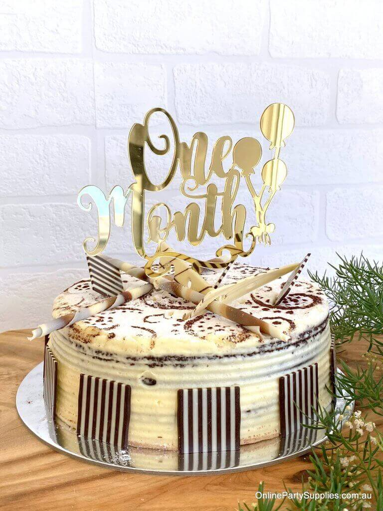 Gold Mirror Acrylic 'One Month' Balloon Laser Cut 1st Month Birthday Cake Topper Online Party Supplies Australia