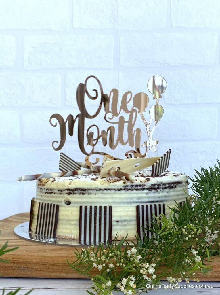 Rose Gold Mirror Acrylic 'One Month' Balloon Laser Cut 1st Month Birthday Cake Topper
