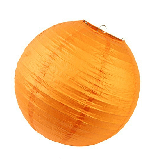 Orange Round Chinese Paper Lantern - 4 Sizes