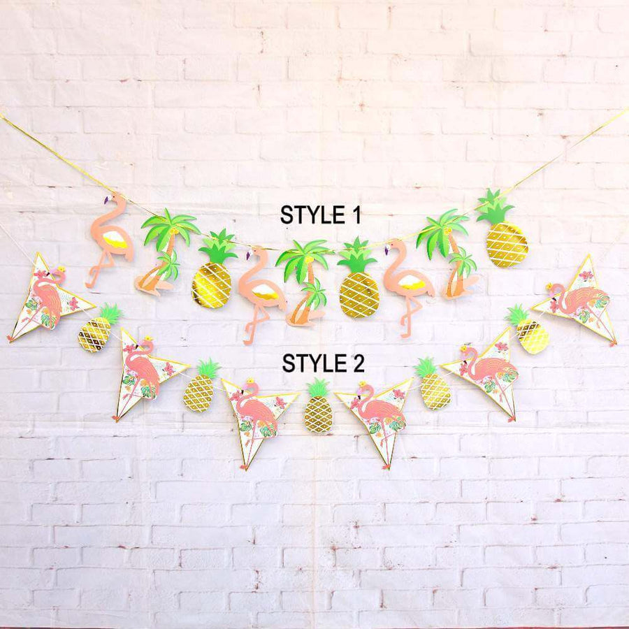 Tropical Flamingo Palm Tree Pineapple Paper Flag Garland