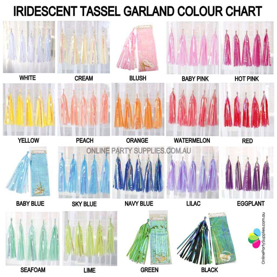 Online Party Supplies Multicoloured Iridescent Tassel Garland (Pack of 5) choose your own colours