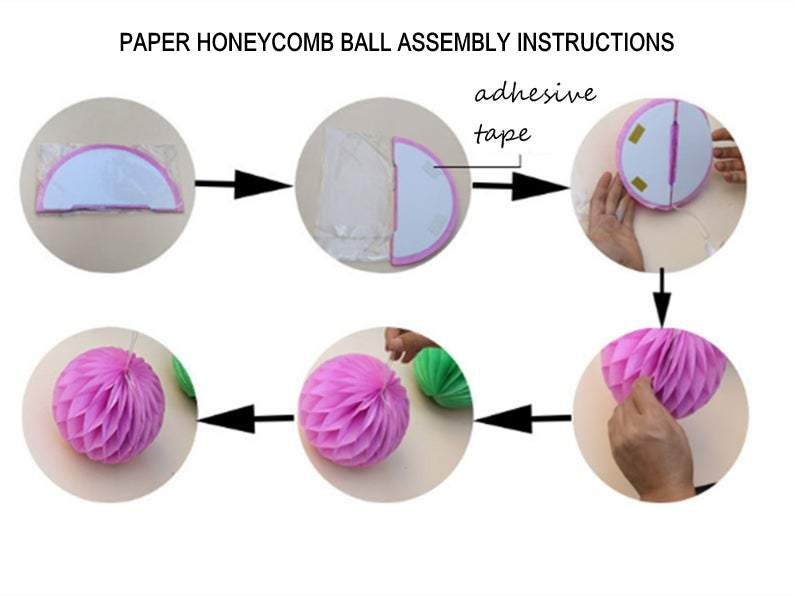 White Paper Honeycomb Ball - 4 Sizes