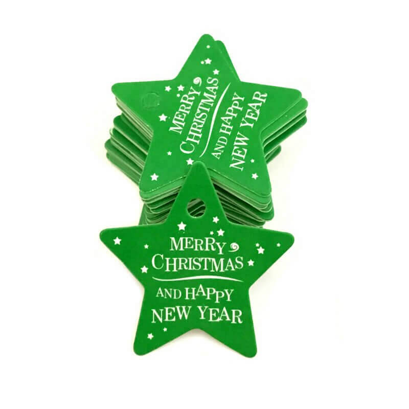 Green Star Shape Merry Christmas Gift Tag 10 Pack