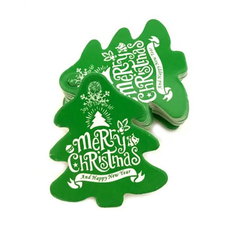 Green Xmas Tree Shape Merry Christmas Gift Tag 10 Pack