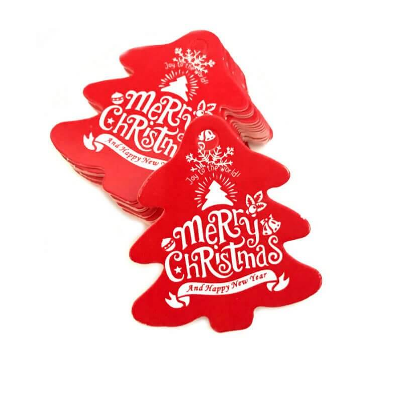 Red Xmas Tree Shape Merry Christmas Gift Tag 10 Pack