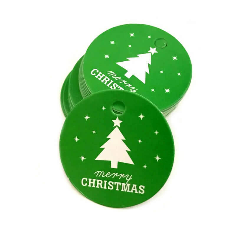 Round Green Merry Christmas Gift Tag 10 Pack