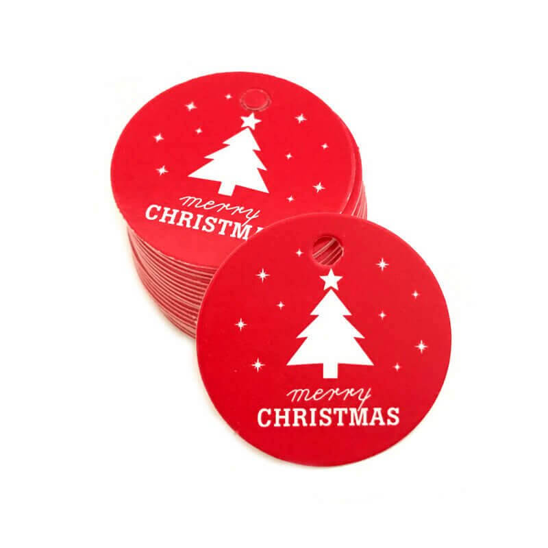 Round Red Merry Christmas Gift Tag 10 Pack