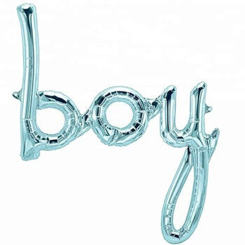Pastel Blue 'Boy' Script Baby Shower Foil Balloon Banner