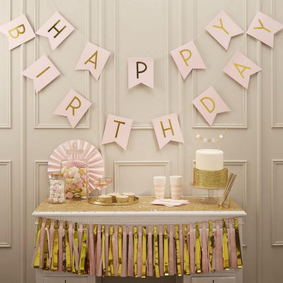 Pastel Pink and Gold Foiled Happy Birthday Bunting Banner