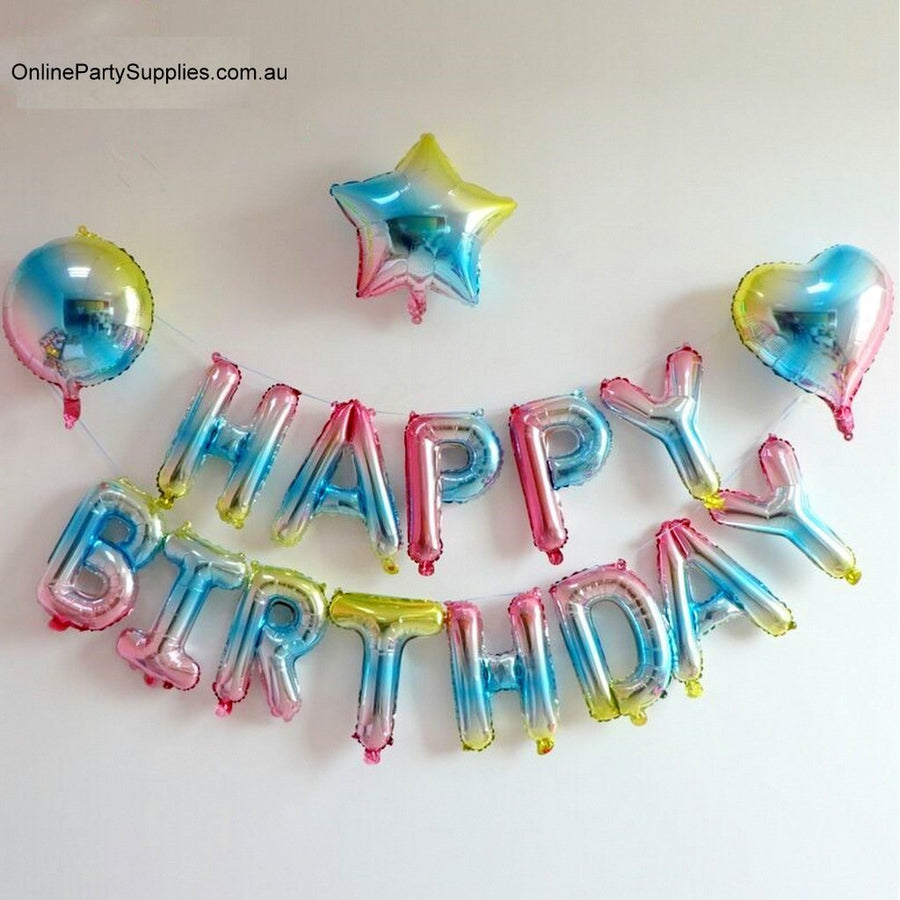 Pastel Iridescent Rainbow Happy 1st Birthday Foil Balloon Bundle (18 balloons) - Online Party Supplies