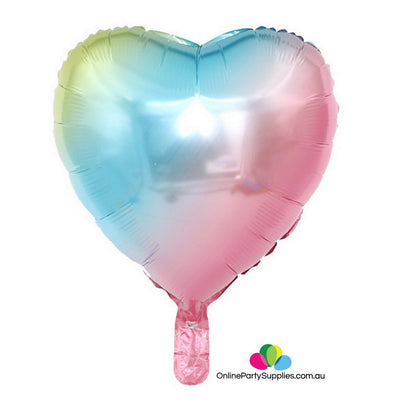 Pastel Iridescent Rainbow Happy Birthday Love Script Heart Star Round Shape Foil Balloon Bundle - Online Party Supplies
