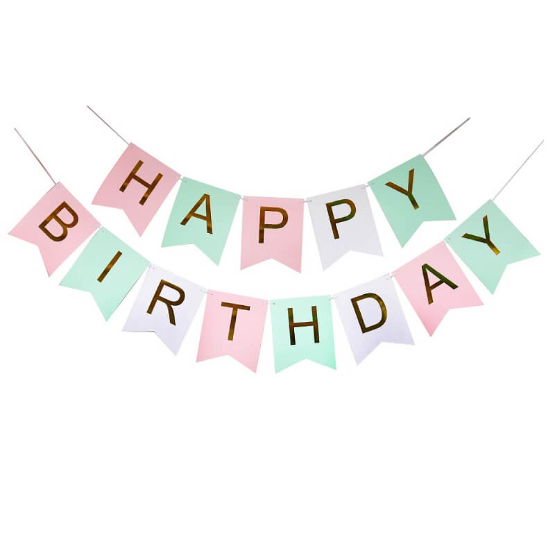 Pastel Rainbow Happy Birthday Paper Bunting Banner