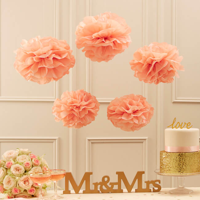 Party Decorations Tissue Paper Pom Poms - Peach