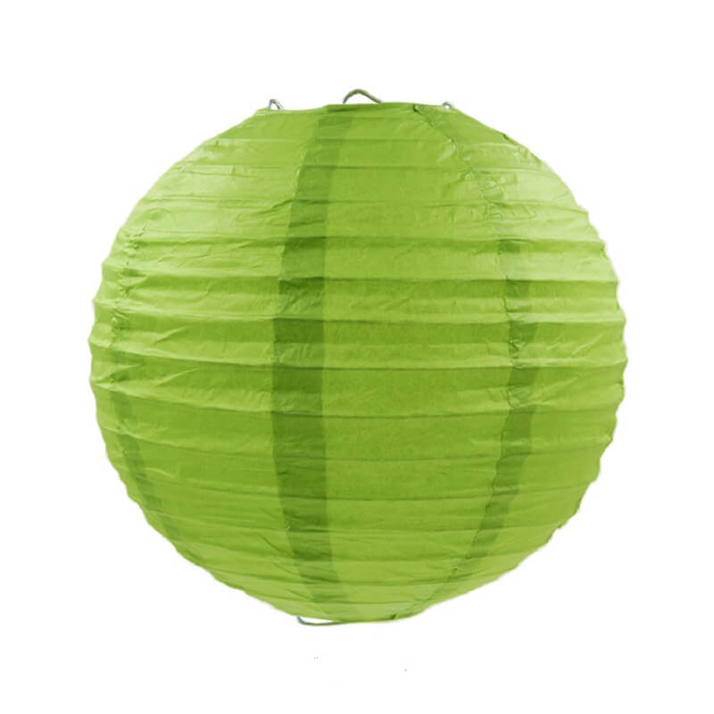 Pear Green Round Chinese Paper Lantern - 4 Sizes