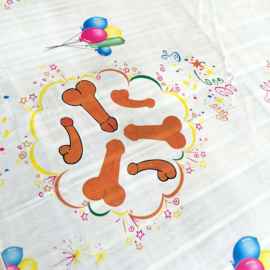 185cm x 132cm Online Party Supplies Naughty Hen Party Penis Tablecloth
