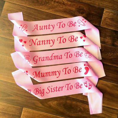 Pink BABY SHOWER GENDER REVEAL MATERNITY SATIN SASH