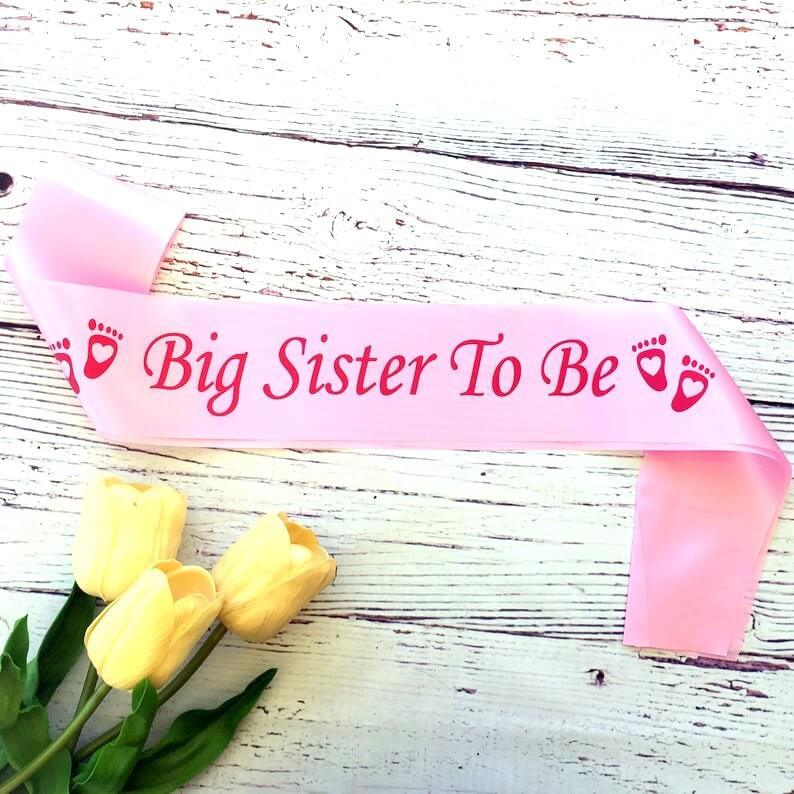 Pink Big Sister To Be Baby Shower Satin Sash - Gender Reveal Party Decorations