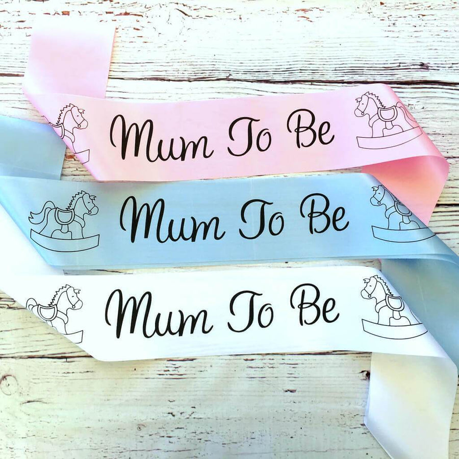 Mum To Be with Rocking Horses Baby Shower Satin Sash - Gender Reveal Party Decorations