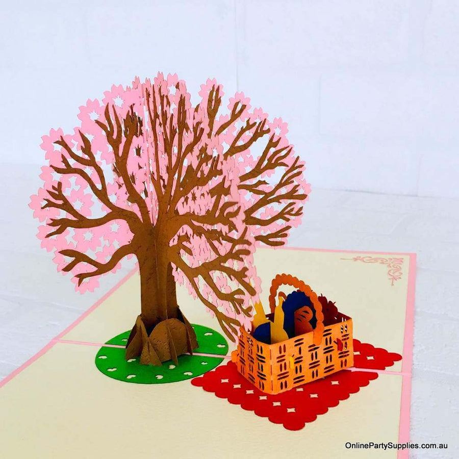 Handmade Pink Cherry Blossom Tree with a Picnic Basket Pop Up Greeting Card - Pink Cover