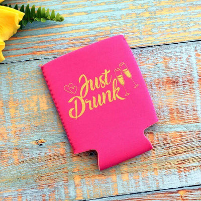 Online Party Supplies Pink Just Drunk Bachelorette Hen Party Stubby Holder
