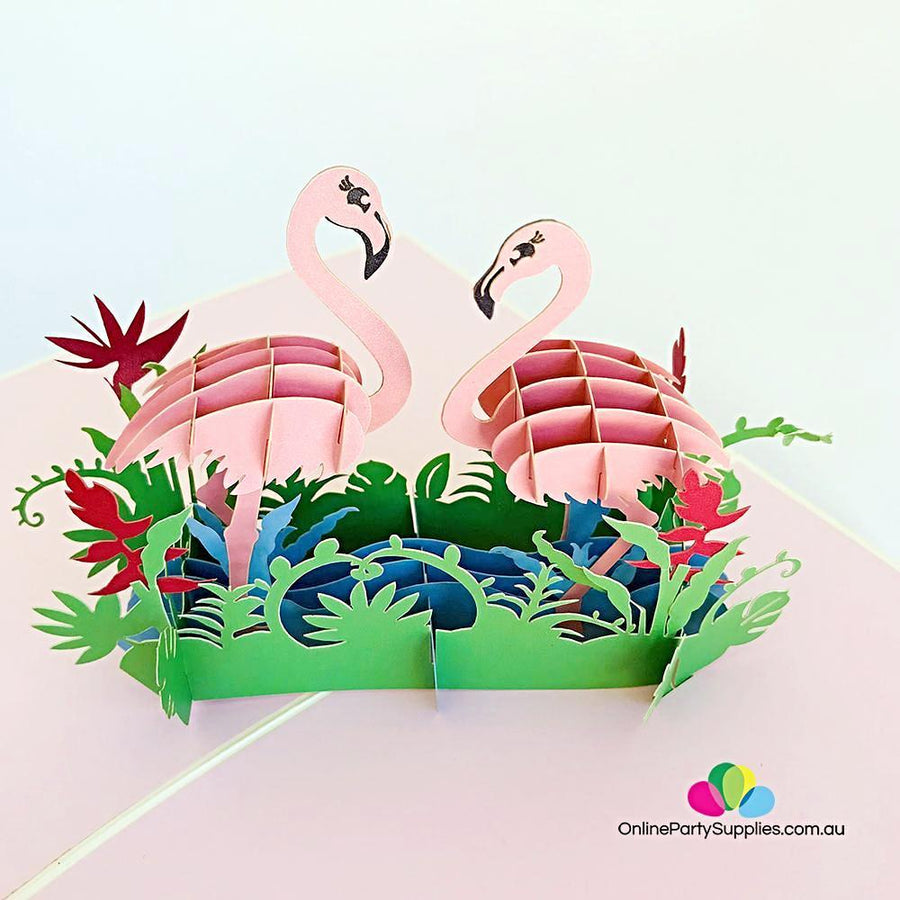 Pink Flamingo Couple in Tropical Garden 3D Pop Up Card - Online Party Supplies