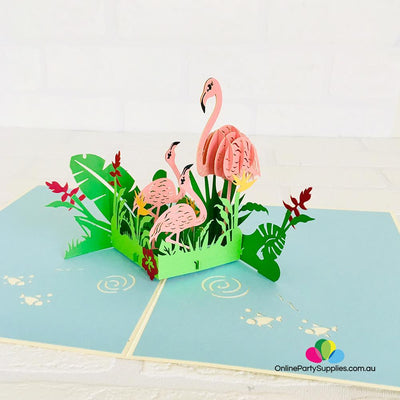 Pink Flamingo Mum & Babies in Garden 3D Pop Up Card - Online Party Supplies