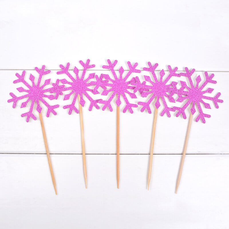 Pink Glitter Snowflake Paper Cupcake Topper 10 Pack