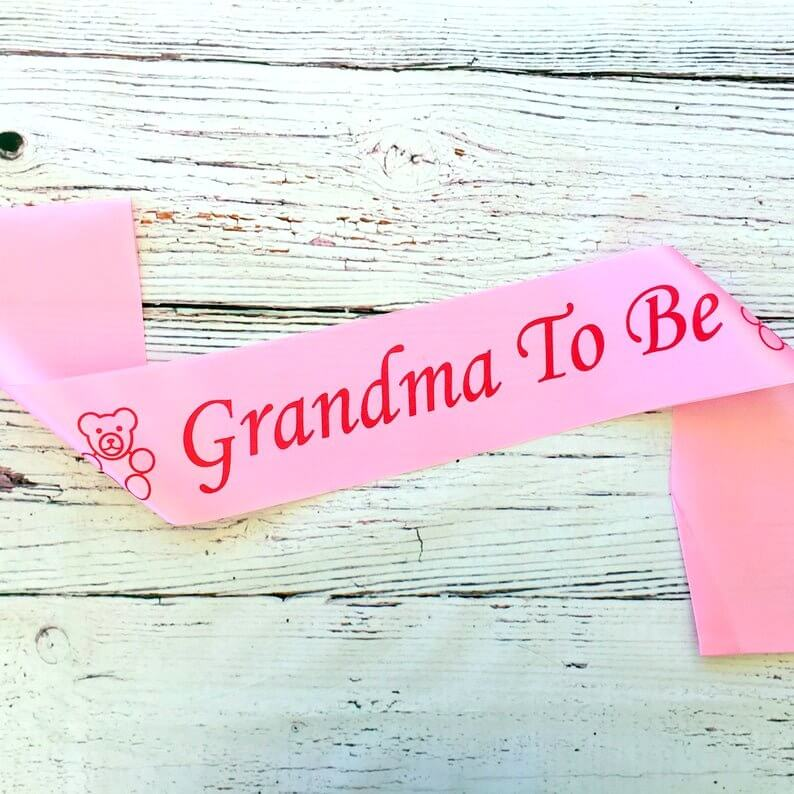 Pink Grandma To Be Baby Shower Satin Sash - Gender Reveal Party Decorations