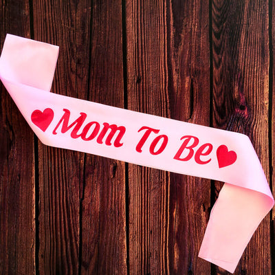Pink Online Party Supplies Mom To Be with Heart Baby Shower Satin Sash