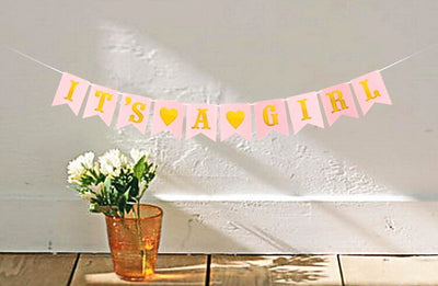 Pink 'It's A Girl Baby Shower' Bunting Banner