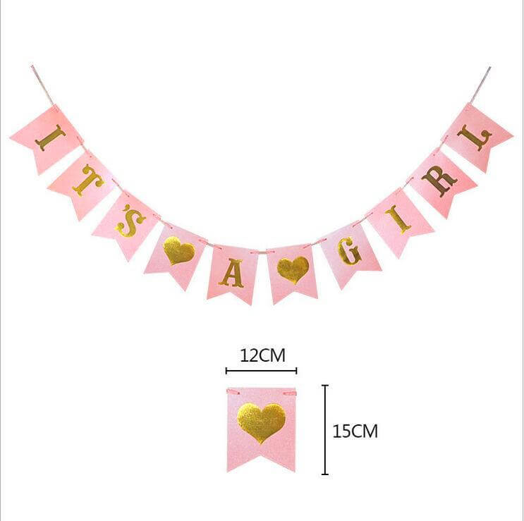 Pink 'It's A Girl Baby Shower' Gender Reveal Bunting Banner