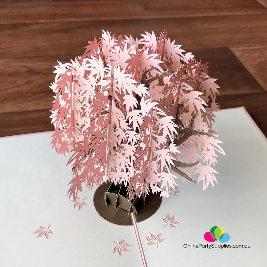 Pink Japanese Maple Tree 3D Pop Up Card - Online Party Supplies